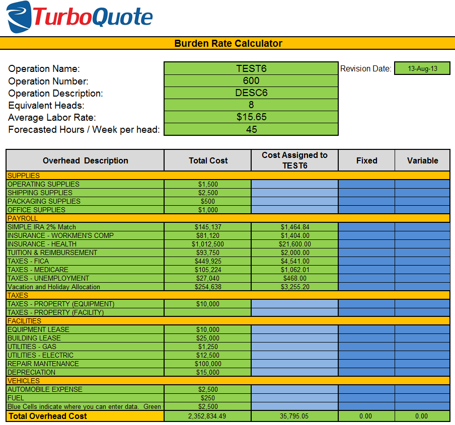 Calculate Burden Rates Eturboquote